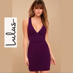 Lulu*s Dress Cross My Heart Purple Bodycon Small